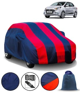 Carzex Car Body Cover For Hyundai Xcent with Mirror Pockets & Storage Bag (Full Sized, Full Bottom Elastic, Red & Blue Stripe Design)