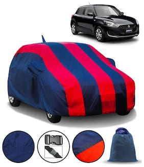Carzex Car Body Cover For Maruti Swift 2018 With Mirror & Antenna Pockets & Storage Bag (Full Sized, Full Bottom Elastic, Red & Blue Stripe Design)