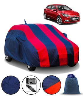 Carzex Car Body Cover For Hyundai Elite I20 With Mirror & Antenna Pockets & Storage Bag (Full Sized, Full Bottom Elastic, Red & Blue Stripe Design)