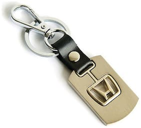 City Choice Beautiful Honda Alloy & Leather Car&Bike Keychain Locking Hook Keyring (Golden)