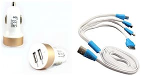 Combo Of 1 Duel Usb Car Charger Plus 4 In 1 Usb Multi Pin Cable (Assorted)