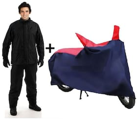 COMBO OF HMS BLACK RAINSUIT AND RED AND NAVY BLUE BIKE COVER