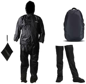 Mototrance Combo Of Rain suit With Waterproof Backpack Rain Cover and Knee Hight Shoe Rain Covers Shoe raincoat (Set Of 3)