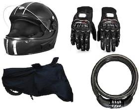 Combo Of Vivacity Isi Helmet + Probiker Gloves + Bike Cover + No. Lock