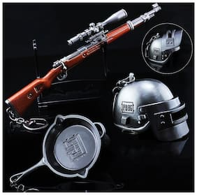 Combo Pack of PubG Player's Battlegrounds Game Armor Model key Chains Level 3 Helmet, KAR 98 Sniper Rifle and Pan Keychain (Pack of 3)