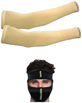 Cotson Unisex Fingerless Cotton Arm Sleeves;Protection Sleeves from Sun Tanning for Driving;Biking;Cycling Free Full Pollution Mask (Beige)