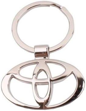 CP BIGBASKET Toyota Chrome Plated Steel Imported Key Chain Key Ring Car Logo For Etios Liva Corolla Innova Camry Fortuner Cars