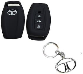 CP BIGBASKET Silicone Key Cover For Tata Safari Storme / Aria 3 Button Remote Key Pack of two(2) With 1 key Chain