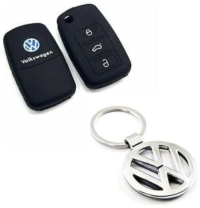 CP Bigbasket Pack Of 2 Volkswagen Silicon Key Cover With 1 Metal Key Chain For Polo, Tiguan, Vento, Ameo