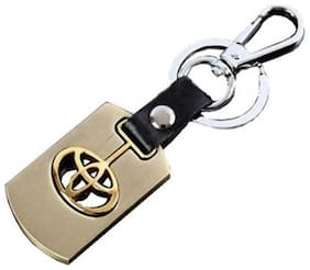 CP Bigbasket Toyota Heavy Metal Alloy Key Chain Ring For Car (Golden)