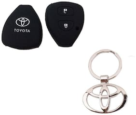 CP BIGBASKET Silicone Key Cover For Toyota Innova / Fortuner /Corolla With 2 Button Remote Key With 1 key Chain