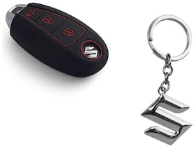 CP BIGBASKET Silicone key cover fit for: Suzuki Vitara Brezza / Baleno / S Cross / Ciaz / Swift smart key With 1 key Chain