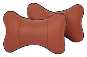 Cranzo Car Neck Rest Cushion Leather Brown Set of 2 for Toyota Corolla Altis