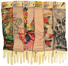 Crux&hunter biker cotton blended tattoo arm sleeves pack of 6