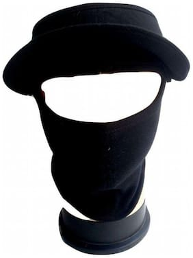 H-STORE D3 Cap Style Ninja Mask Black Plain Color Covers Full Face, Bike Riders Safety Mask With Velcro Closure