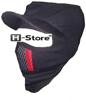 H-STORE D3 Cap Style Ninja Mask Blue Color With Red & Black Nose Lines Covers Full Face, Bike Riders Safety Mask With Velcro Closure