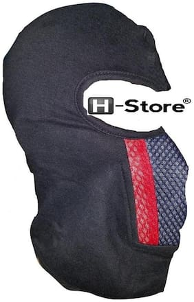 H-STORE D3 Full Black With Red&Black Face Cover Mask MASK With Velcro Closure Just Stitch Back To Head