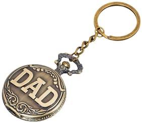 Dad Theme Father's Day Gift Designer Pocket Watch Vintage Clock Metallic Keyring