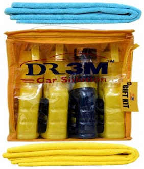 DASHBOARD POLISH 250ml.+ TYRE POLISH 250ml.+ LEATHER POLISH 250ml.+ CAR GLASS CLEANER 250ml. + 2 pc ( YELLOW + SKY BLUE) CAR MICROFIBER CLOTH.