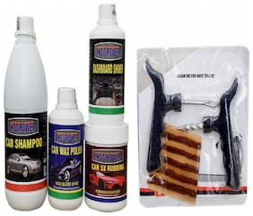 DASHBOARD SHINER 250ml+ CAR 5X RUBBING POLISH 250ml+ CAR WAX POLISH 250ml+ CAR SHAMPOO 500ml+ Tubelass smart Panchar Kit.