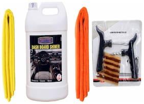 DASHBOARD SHINER 5ltr+ + 2PC CAR MICROFIBER CLOTH ( YELLOW + ORANGE)+ Tubelass smart Panchar Kit.