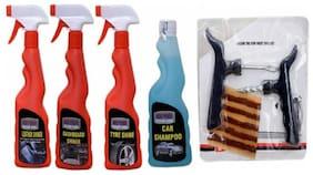 DASHBOARD SHINER SPRAY 250ML+CAR WASH SHAOO 250ml+ TYRE SHINER SPRAY 250ml+ LEATHER SHINER SPRAY 250ml+ COMBO PACK+ Tubelass smart Panchar Kit.