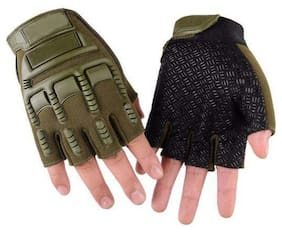 Daylfonos Green Tactical Breathable Fabric Cycling and Riding Gloves (Green)