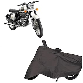 De-Autocare Premium Quality Grey Matty Two Wheeler Bike Body Cover For Royal Enfield Bullet Classic 350 With Mirror Pockets