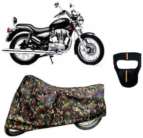 De-Autocare Premium Quality Junglee Matty Bike Body Cover for Royal Enfield Thunderbird Twin spark With Free Anti Dust / Pollution Protective Big/Full Face Mask For Men & Women