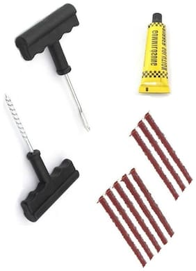 De-Autocare Universal Car & Bike 8 Rubber Strips Plugs Tubeless Flat Tyre Puncture Repair Kit Patch Tools For All Radial & Steel Belted Tires (T Shape Handle Grips + 8 Repair Strips + Rubber Solution)