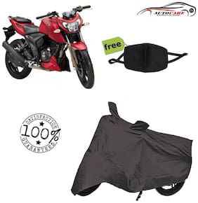 De-Autocare Premium Quality Grey Matty Bike Body Cover For TVS Apache RTR 200 With Free Anti Dust / Pollution Protective Face Mask Mouth & Nose Respirator For Boys & Girls