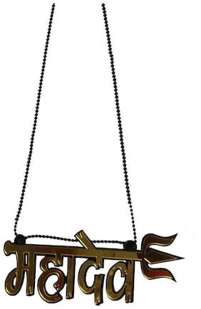 De-Autocare Premium Quality Car Rearview Mirror Lord Mahadev With Trident Door/wall Acrylic Hanging Chain Plastic Logo Pendant Locket Spiritual Emblem Ornament Decor Stylish Interior Accessories