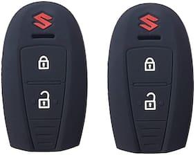 De-Autocare (Set Of 2 pc) Silicone Rubber Unbreakable And Durable Suzuki 2 Push Start Buttons (Black Color) Car Remote Flip Smart Key Cover/Key Guard/Key Shell Fit For Maruti Suzuki Ciaz