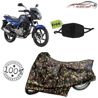 De-Autocare Premium Quality Army Color Junglee Matty Bike Body Cover For Bajaj pulsar 150 With Free Anti Dust / Pollution Protective Face Mask Nose & Mouth Respirator For Boys & Girls