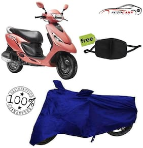 De-Autocare Premium Quality Royal Blue Matty Scooty Body Cover For TVS Scooty Zest With Free Anti Dust / Pollution Protective Face Mask Nose & Mouth Respirator For Boys & Girls