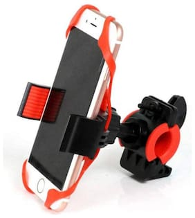De-Autocare Universal Bicycle Phone Holder Silicone Elastic Band Handlebar Bracket Support Bicycle Motorcycle Mount Bike Mobile Holder (Multicolor)