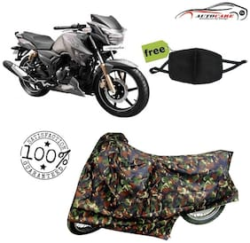 De-Autocare Premium Quality Army Color Junglee Matty Bike Body Cover For TVS Apache RTR 180 With Free Anti Dust / Pollution Protective Face Mask Nose & Mouth Respirator For Boys & Girls