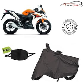 De-Autocare Premium Quality Grey Matty Bike Body Cover For Honda CBR With Free Anti Dust / Pollution Protective Face Mask Mouth & Nose Respirator For Boys & Girls