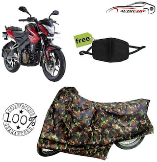 De-Autocare Premium Quality Army Color Junglee Matty Bike Body Cover For Bajaj pulsar NS 200 With Free Anti Dust / Pollution Protective Face Mask Nose & Mouth Respirator For Boys & Girls