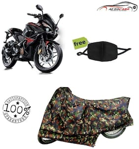 De-Autocare Premium Quality Army Color Junglee Matty Bike Body Cover For Bajaj pulsar RS 200 With Free Anti Dust / Pollution Protective Face Mask Nose & Mouth Respirator For Boys & Girls