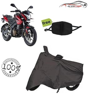 De-Autocare Premium Quality Grey Matty Bike Body Cover For Bajaj pulsar NS 200 With Free Anti Dust / Pollution Protective Face Mask Mouth & Nose Respirator For Boys & Girls