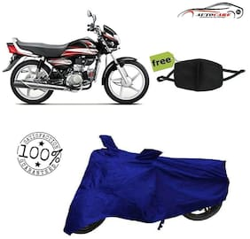 De-Autocare Premium Quality Royal Blue Matty Bike Body Cover For Hero HF Deluxe With Free Anti Dust / Pollution Protective Face Mask Nose & Mouth Respirator For Boys & Girls