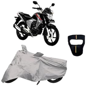 De-Autocare Premium Quality Silver Matty Bike Body Cover for Honda Unicorn Dazzler With Free Anti Dust   Pollution Protective Big Full Face Mask For Men and  Silver