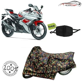 De-Autocare Premium Quality Army Color Junglee Matty Bike Body Cover For Yamaha R15 With Free Anti Dust / Pollution Protective Face Mask Nose & Mouth Respirator For Boys & Girls