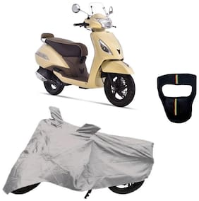 De-Autocare Premium Quality Silver Matty Scooty Body Cover for TVS Jupiter Classic With Free Anti Dust / Pollution Protective Big/Full Face Mask For Men & Women