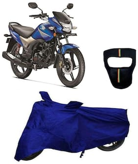 De-Autocare Premium Quality Royal Blue Matty Bike Body Cover for Honda CB Shine SP With Free Anti Dust / Pollution Protective Big/Full Face Mask For Men & Women