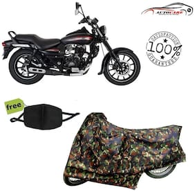 De-Autocare Premium Quality Army Color Junglee Matty Bike Body Cover For Bajaj Avenger With Free Anti Dust / Pollution Protective Face Mask Nose & Mouth Respirator For Boys & Girls