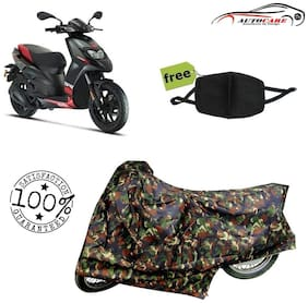 De-Autocare Premium Quality Army Color Junglee Matty Scooty Body Cover For Aprilia SR 150 With Free Anti Dust / Pollution Protective Face Mask Nose & Mouth Respirator For Boys & Girls