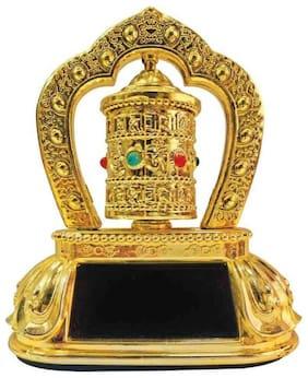 De-Autocare Tibetan Buddhist Revolving/Rotating Bells Mani Lotus Solar Swing Ornament Energy Prayer Wheel Feng Shui Dharma Wheel For Car Home Office Desk Display Decorative Showpiece - 11CM (Plastic)