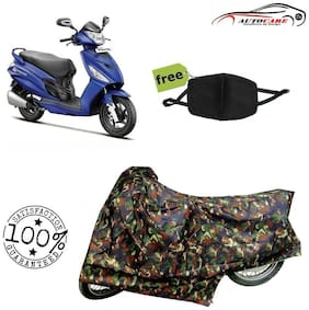 De-Autocare Premium Quality Army Color Junglee Matty Scooty Body Cover For Hero Maestro With Free Anti Dust / Pollution Protective Face Mask Nose & Mouth Respirator For Boys & Girls